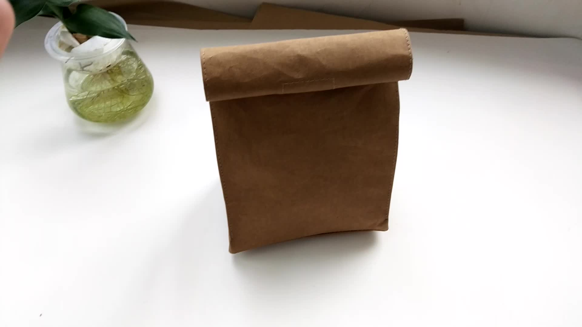 Golden Washable Paper Clutch, Washable Beauty Bag Kraft Paper