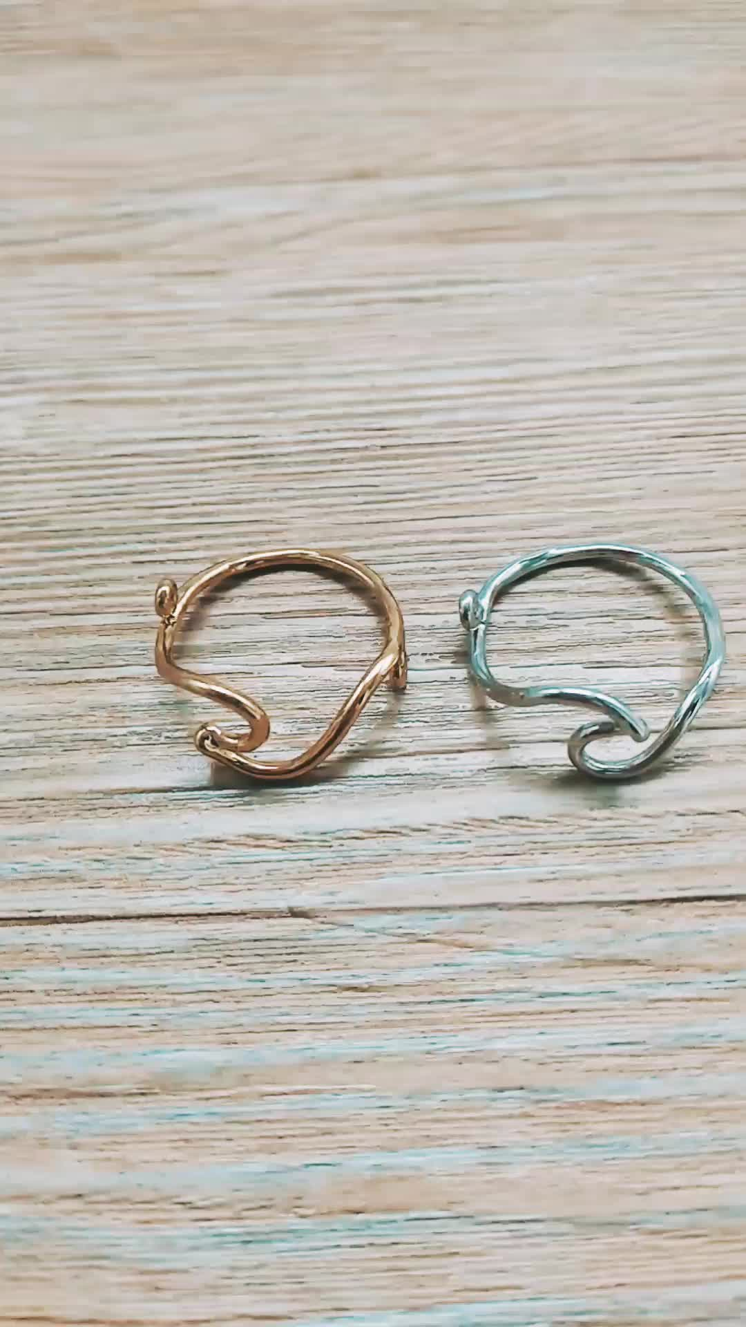 Zooying gold filled surfing ocean beach jewelry copper brass silver  Wave Ring