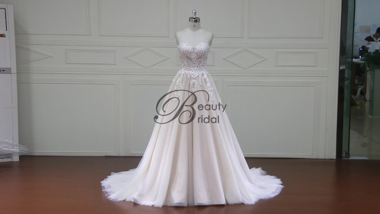 New Arrival Simple Bride Nude Color Guangzhou Beach Gowns Wedding ...
