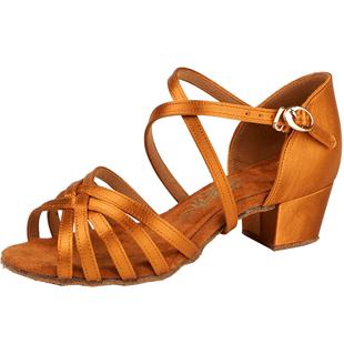 拉丁舞鞋儿童女孩初学者恰恰女童练功鞋软底鞋子少儿中跟跳舞演出