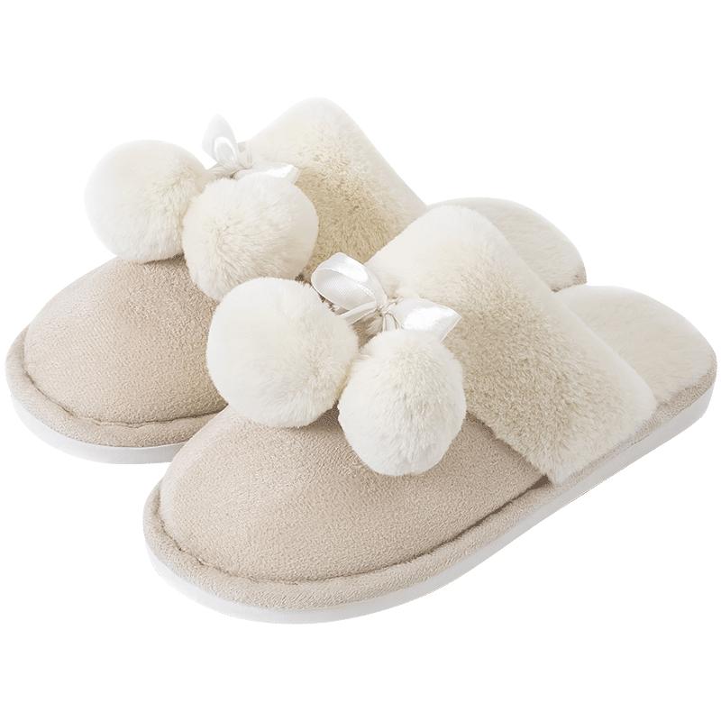 棉拖鞋女家用秋冬季室内情侣一对月子家居可爱厚底毛毛绒拖鞋男夏