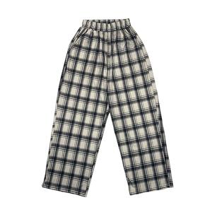 格子裤夏季ins复古高腰宽松休闲裤