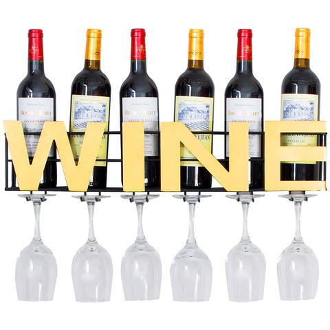 谷达 欧式红酒架壁挂式铁艺悬挂现代简约酒吧高脚杯家用创意酒柜