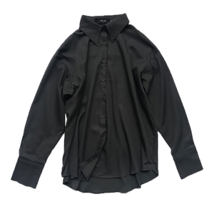 冷淡风垂感灰色雪纺女设计感黑衬衫