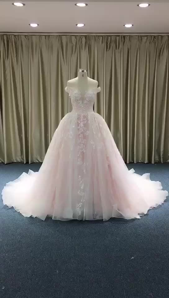 China Guangzhou Wedding Dress Luxury Bridal Gown High Quality Pink Puffy Princess