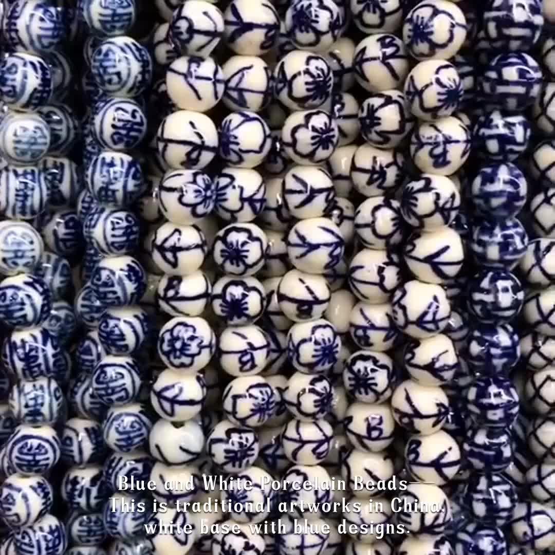 도매 손 painted blue white 도자기 beads perles round 세라믹 bead