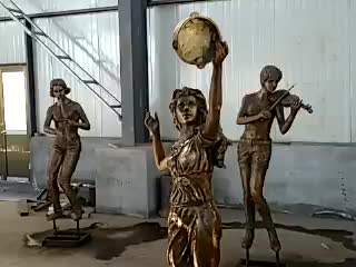 Home decor playing golf of bronze girl statue