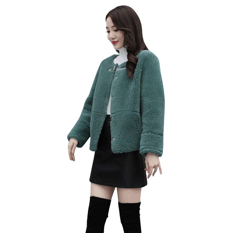 小个子女短款外套2019冬季新款颗粒绒皮毛一体宽松羊羔毛大衣百搭