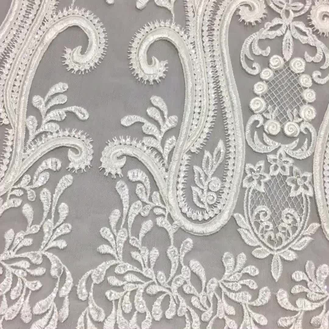 New Design korean embroidered Cord Bridal lace dress fabric
