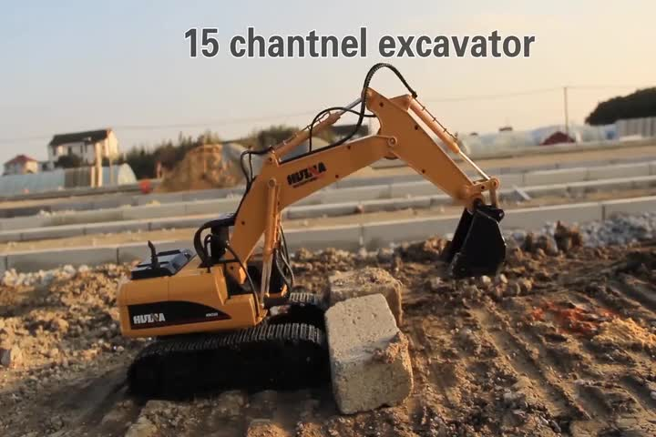 Tongli Mainan 1/14 Skala 15 Channel RC Mobil Huina 1550 Remote Control Excavator Alloy Diecast Penggali Konstruksi Model Truk