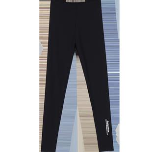 鲨鱼皮外穿薄款黑色高腰紧身打底裤