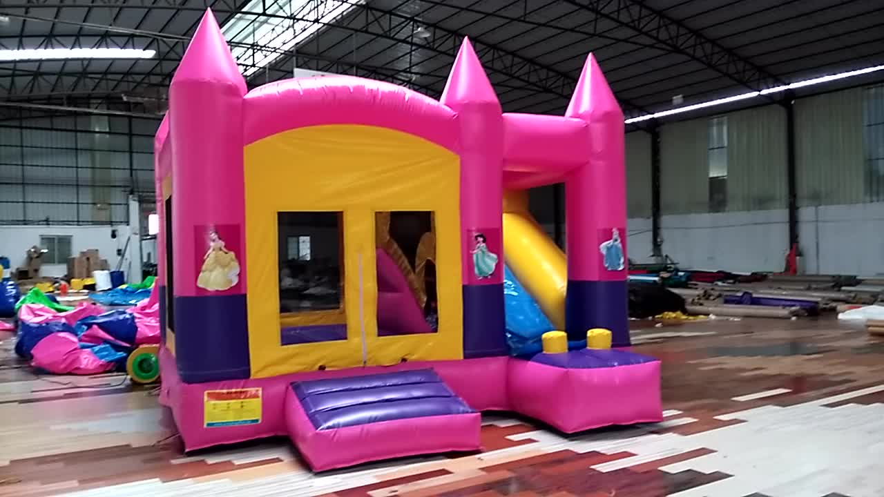 Commercial Bounce House Slide Inflatable Jumping Pink Princess Bouncy Castle For Kids