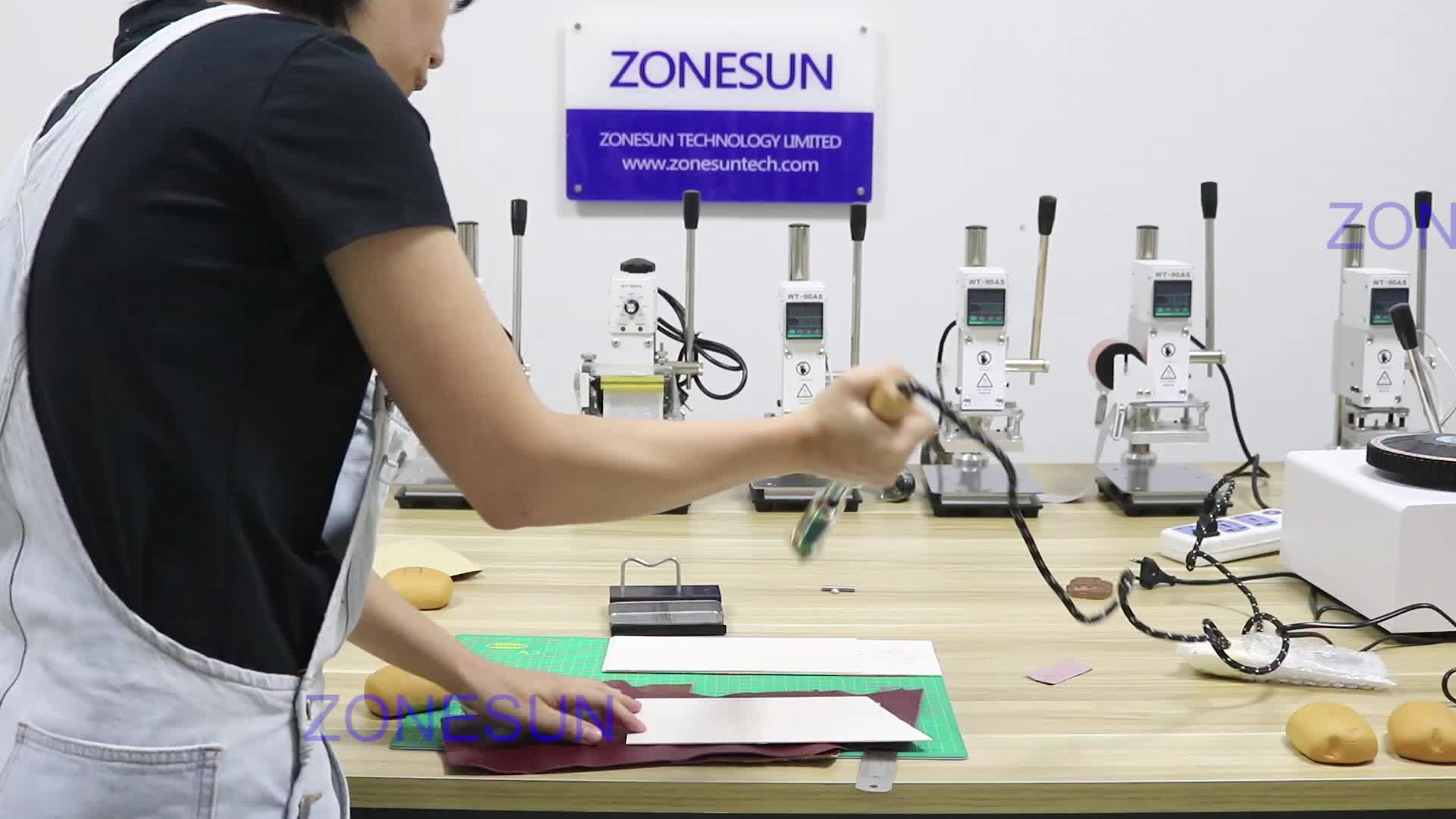 ZONESUN 150W leather logo embossed hot stamping machine leather heat engraving embossing machines