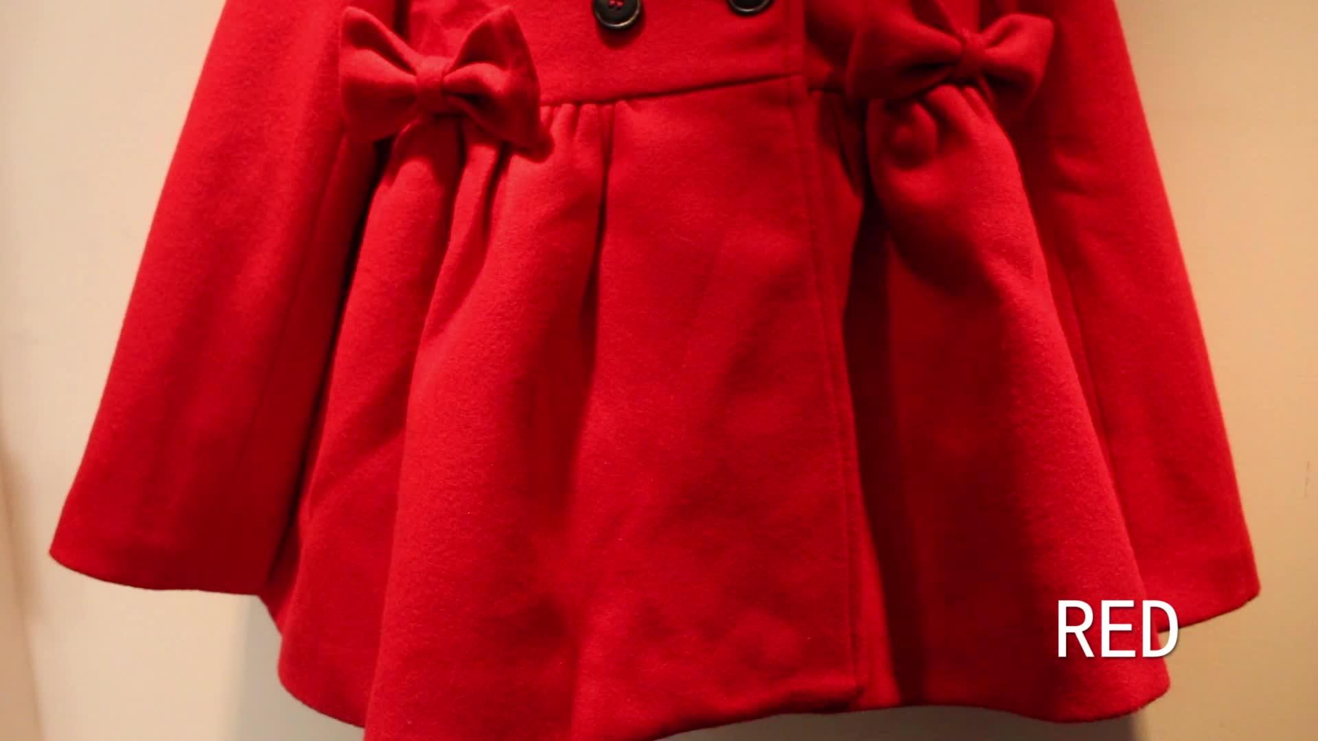 Children dress coat girls woolen stand collar girls trench coats winter kids