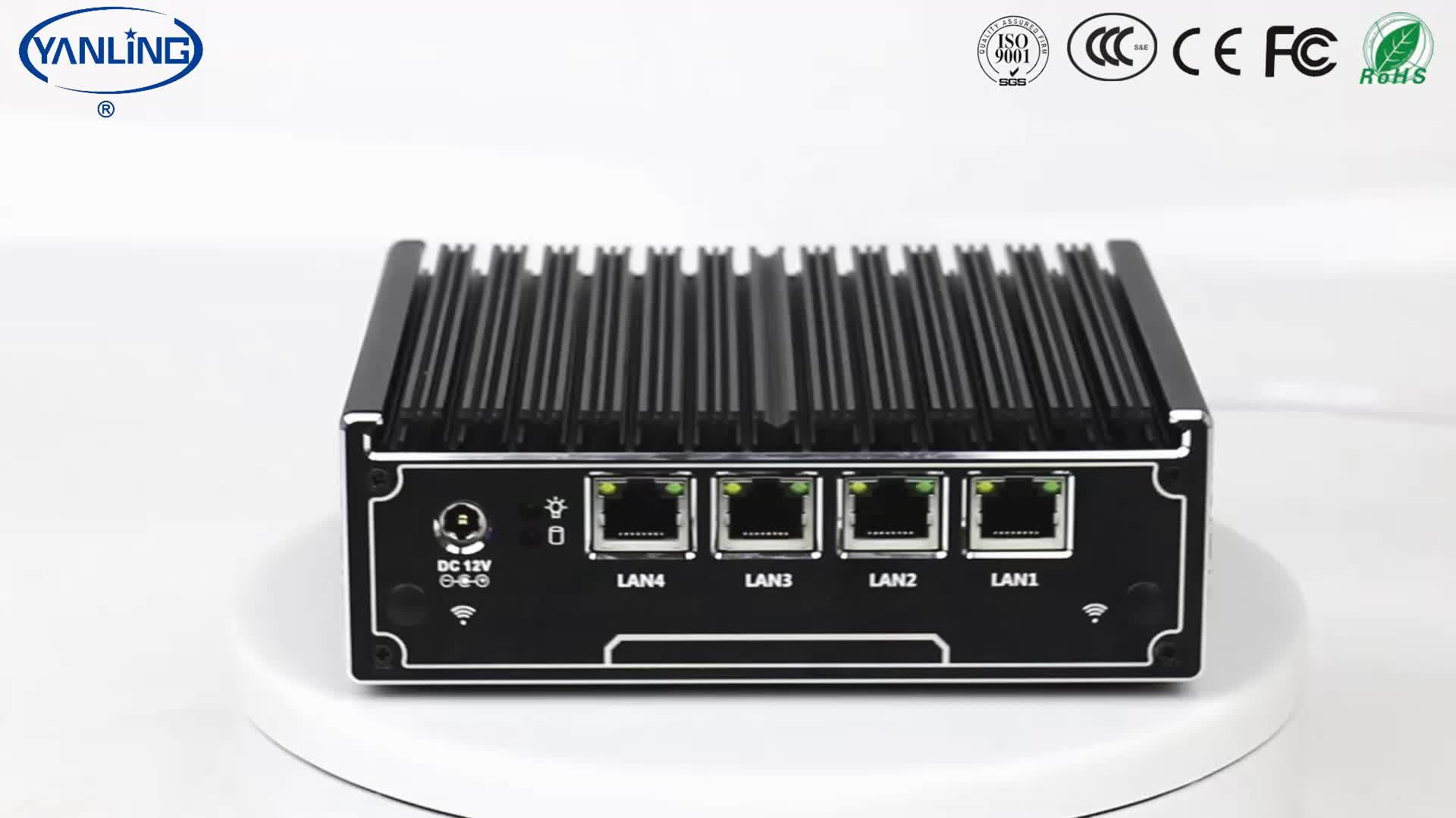 Small fanless linux computer intel J1900 quad core 4 gigabit lan dns server embedded x86 board mini pc router