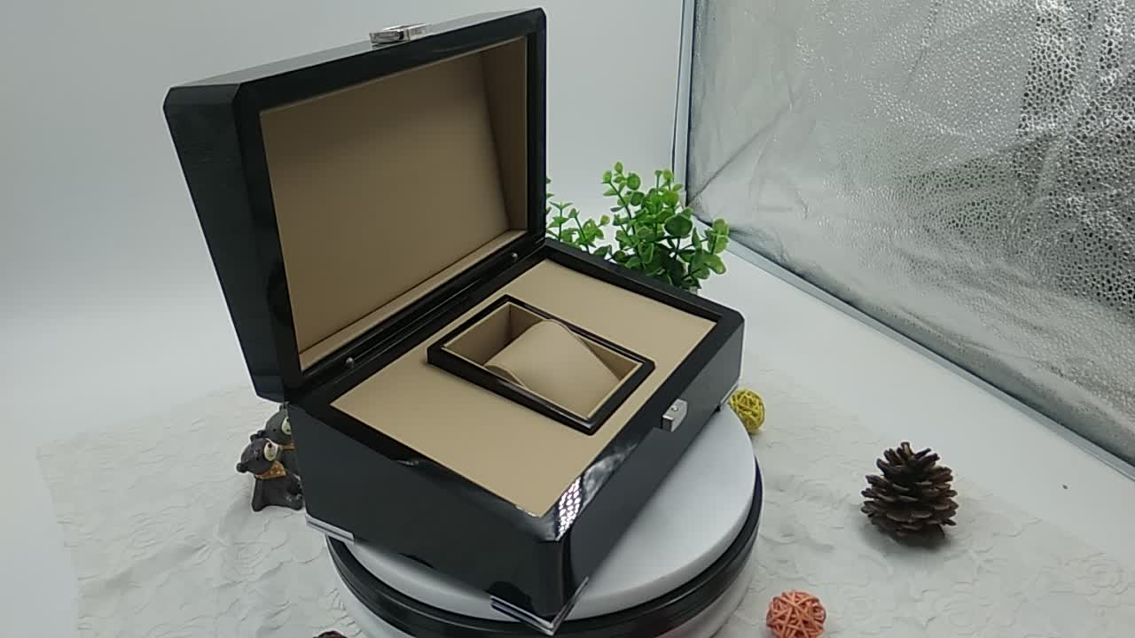 The Glossy Black Lacquered Watch Box Luxury Wooden With Pillow Insert