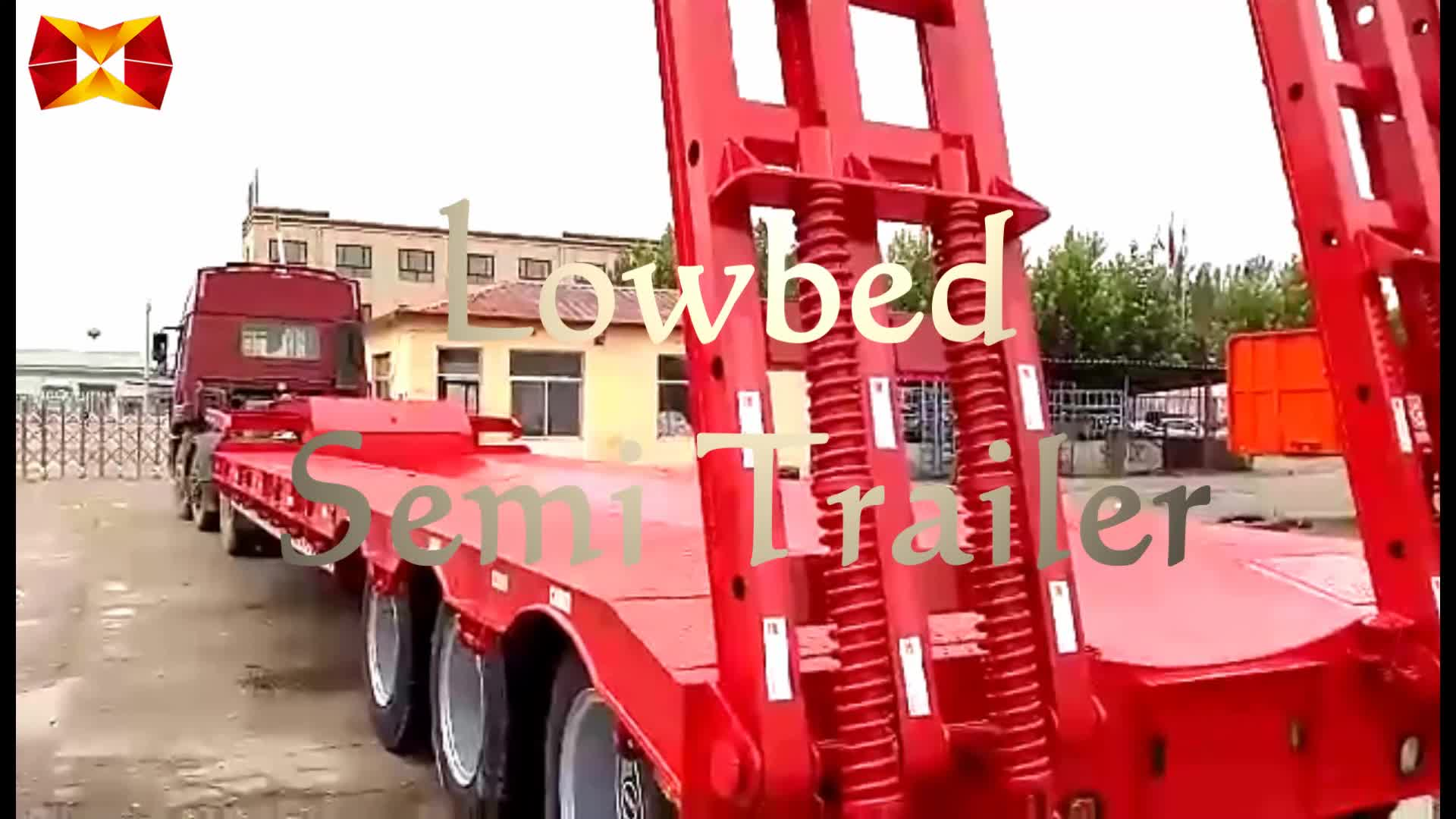 2017 high quality 40 ft 3 axle load 60t lowbed semi trailer