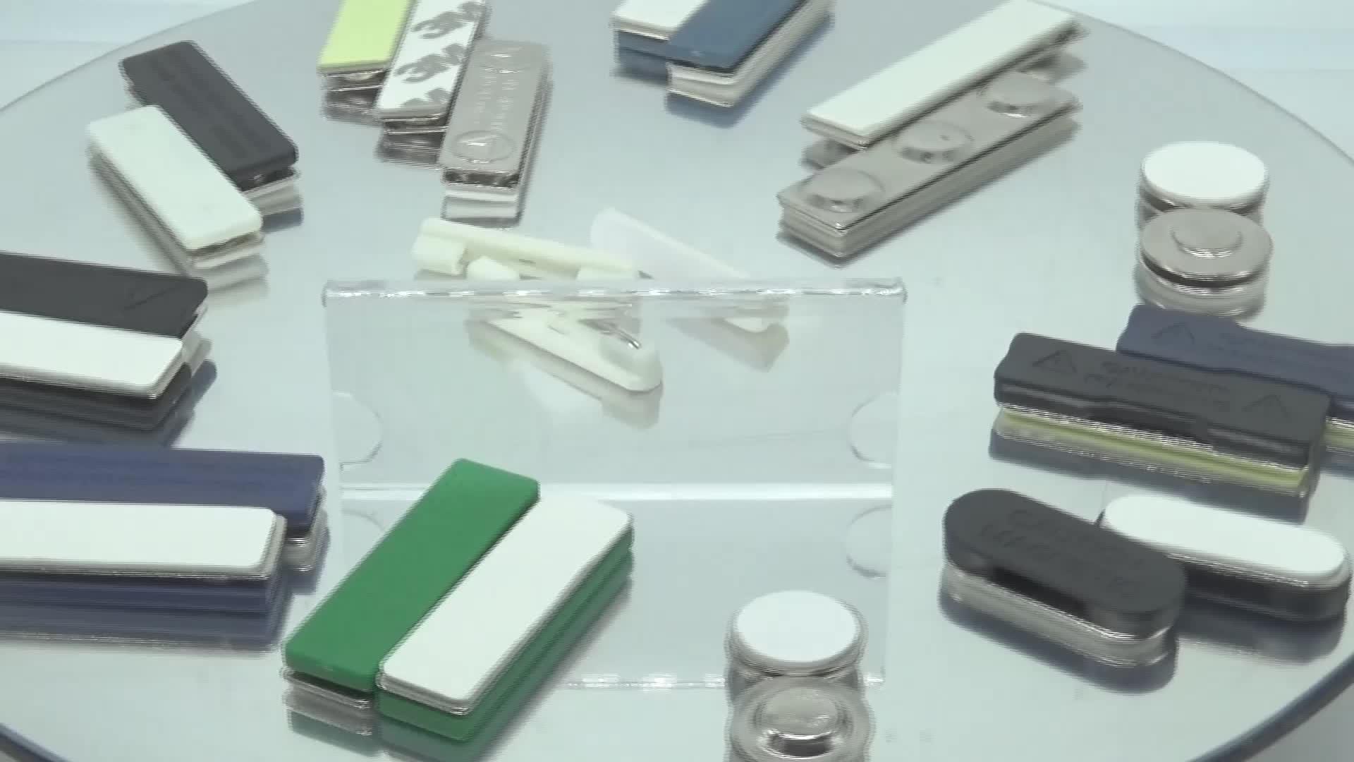 Directamente de la fábrica OEM oficina cierre magnético titular oscuro etiqueta azul imán de neodimio magnético nombre placa