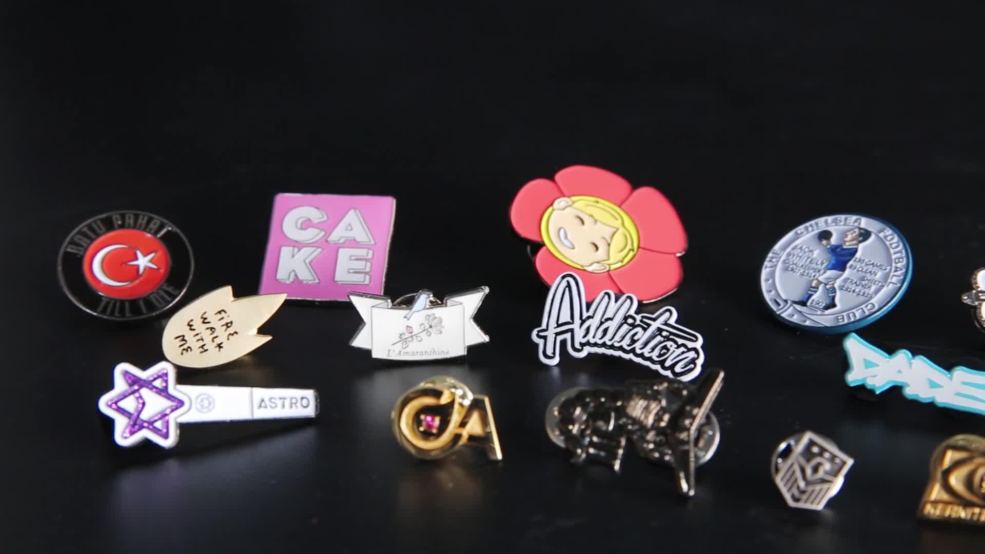 Wholesale custom cute hard enamel metal badge, cartoon blue enamel metal pins