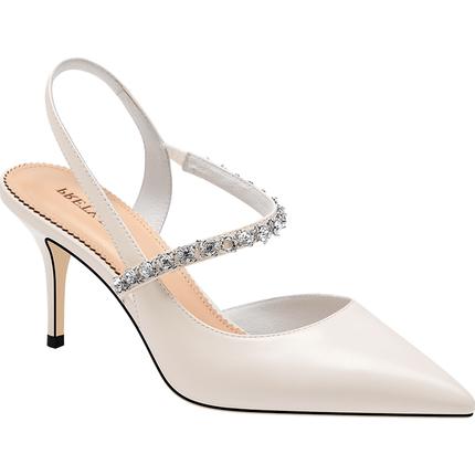 白色包头凉鞋后空浅口细跟高跟鞋