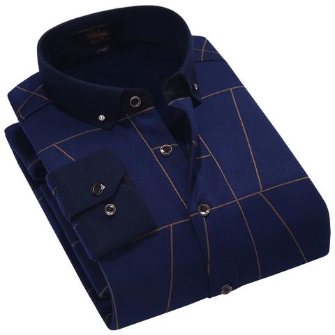 金盾加厚保暖衬衫男加绒衬衣男士修身长袖中年寸衫休闲秋冬季大码