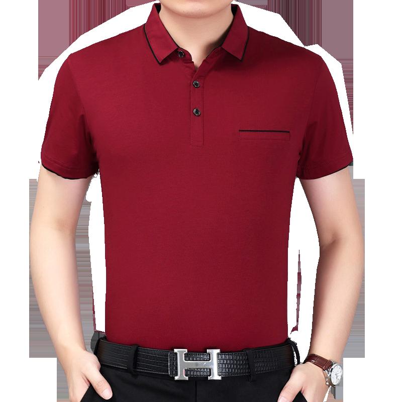 中年男士短袖T纯棉夏T恤