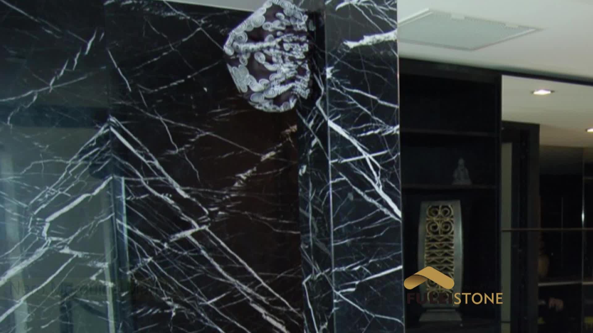 Qualidade superior por atacado china nero marquina preto telha de mármore a preços