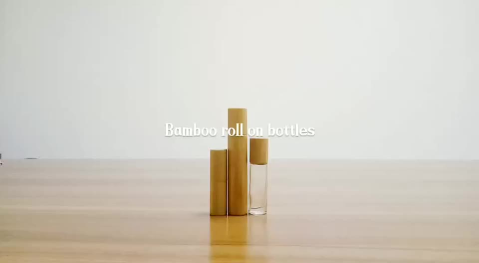 15ml 0.5oz Empty Essential Oil Perfume Bamboo Appearance glass Roll on Bottle with Roller Ball and Bamboo Cap