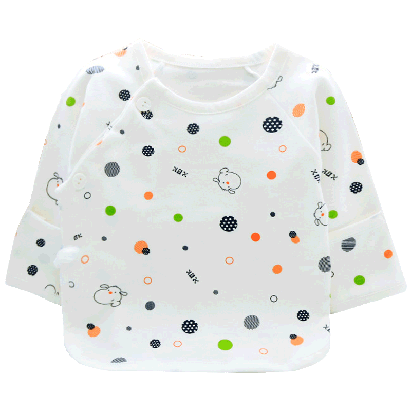 小贝壳初生婴儿秋衣单件上衣春秋季纯棉新生儿衣服和尚服宝宝内衣