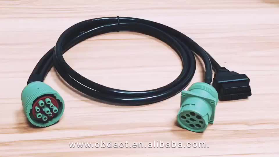 Type 2 Green Deutsch 9pin J1939 to OBD2 Connector Splitter Y cable