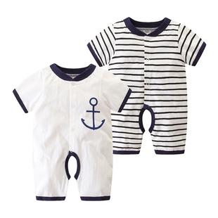 初生嬰兒夏裝0-3個月寶寶哈衣純棉連體衣6薄款短袖新生兒衣服夏季