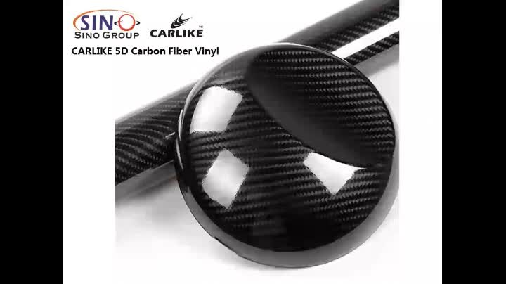 CARLIKE 5*98FT Self Adhesive Film Black 3D Carbon Fiber Car Vinyl  Wrap