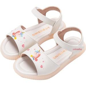 女童真皮露趾2021年夏季新款凉鞋