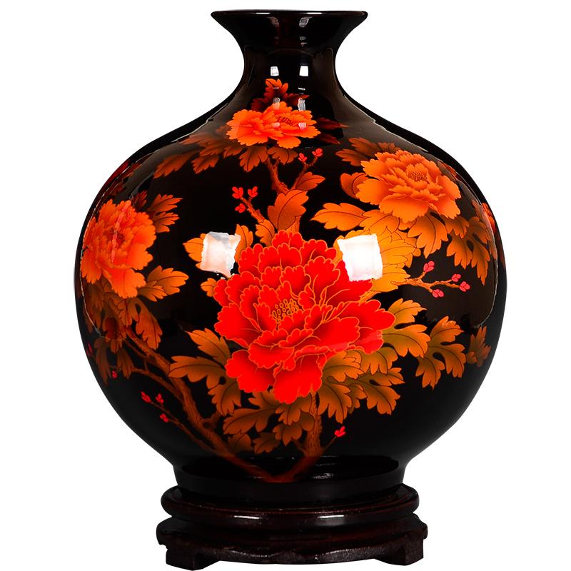 景德镇陶瓷器中国红色插花石榴花瓶好不好