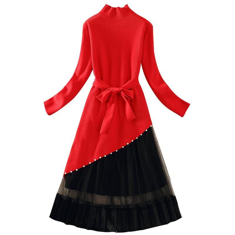网红毛衣女套装秋冬2019款女中长款针织衫不规则网纱连衣裙两件套