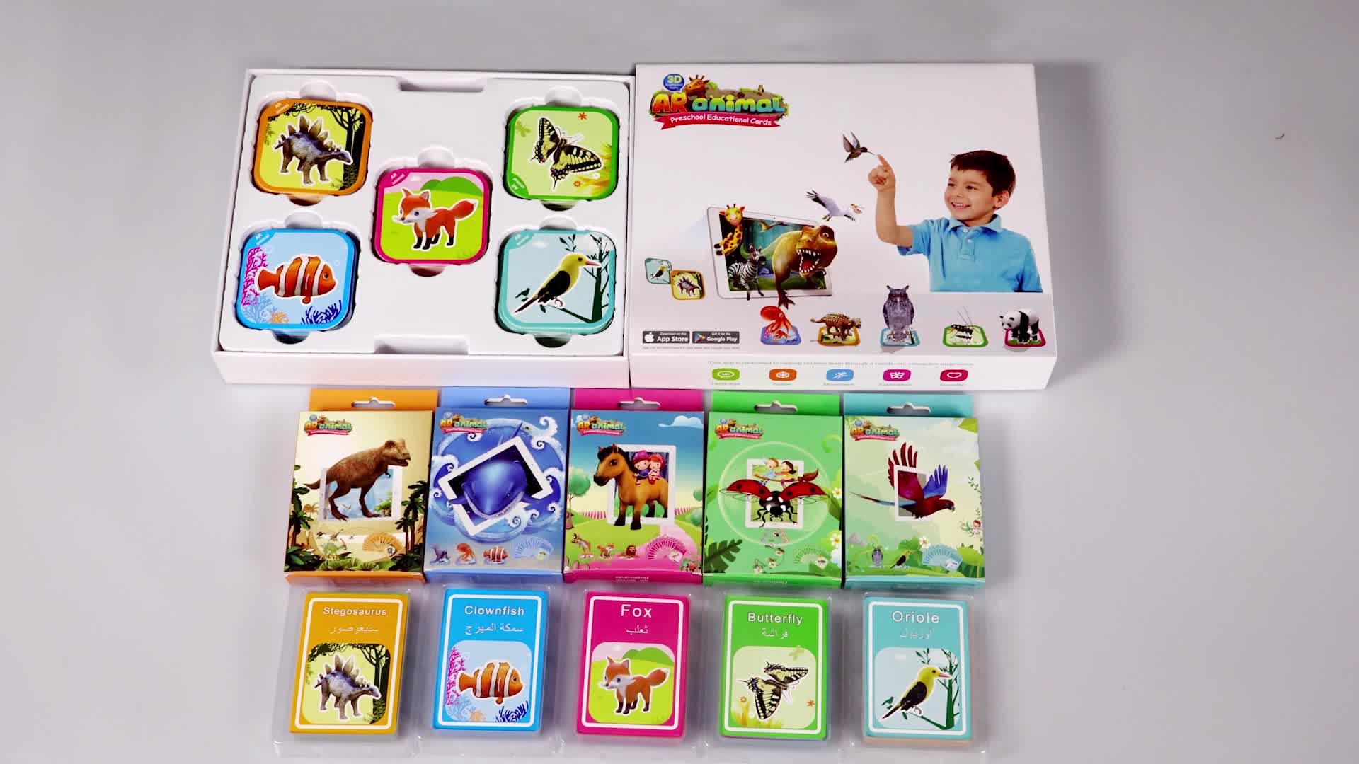 2018 a maioria dos brinquedos populares nova tradução Hindi Inglês brinquedos cartões flash de realidade aumentada para crianças