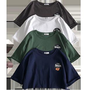 短袖t恤女純棉夏季2020新款港風寬鬆簡約半截袖mschf上衣服ins潮