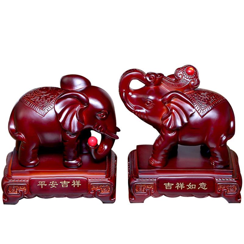 大象摆件一对招财镇宅风水客厅玄关电视柜书柜摆设家居装饰仿实木