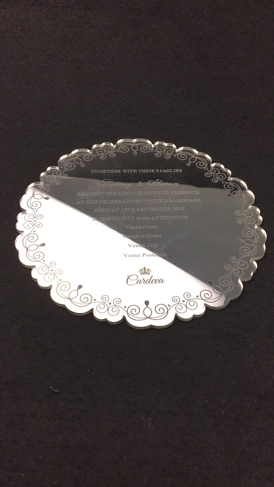 Customized Silver Acrylic Mirror Wedding Invitation Cards with Screen Printing