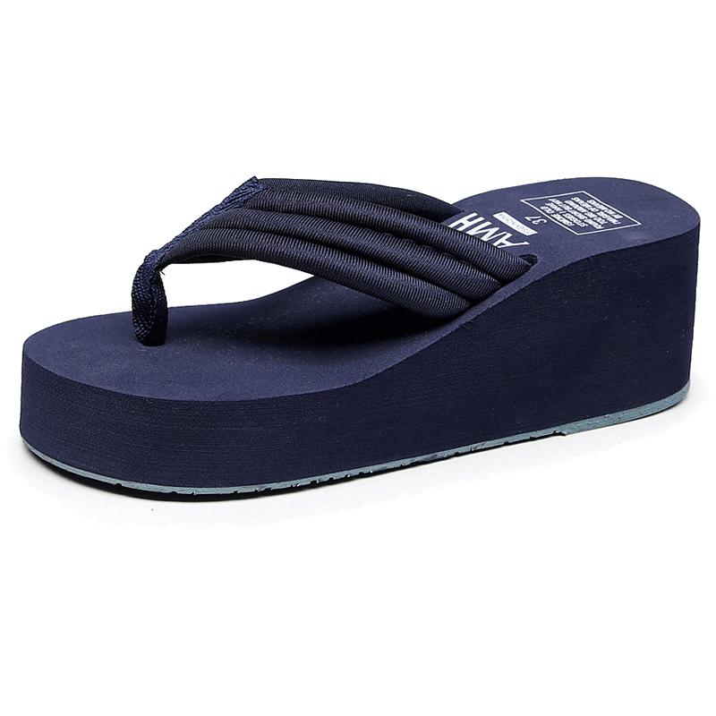 高跟人字拖女夏时尚外穿厚底夹脚网红拖鞋2019新款沙滩坡跟凉拖鞋