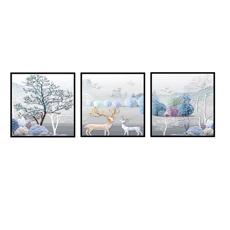 北欧客厅装饰画现代简约沙发背景墙挂画卧室餐厅墙画壁画三联画