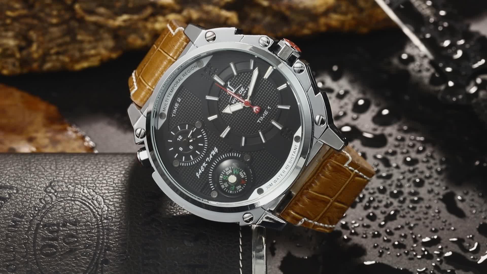 ووتش المصنعين قوانغتشو متعددة المنطقة الزمنية الطلب الكبير الرجال جلد طبيعي حزام الفاخرة ساعة كوارتز