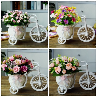 客廳絹花乾花束塑料假花仿真花車套裝飾品家居盆栽小擺件室內擺設