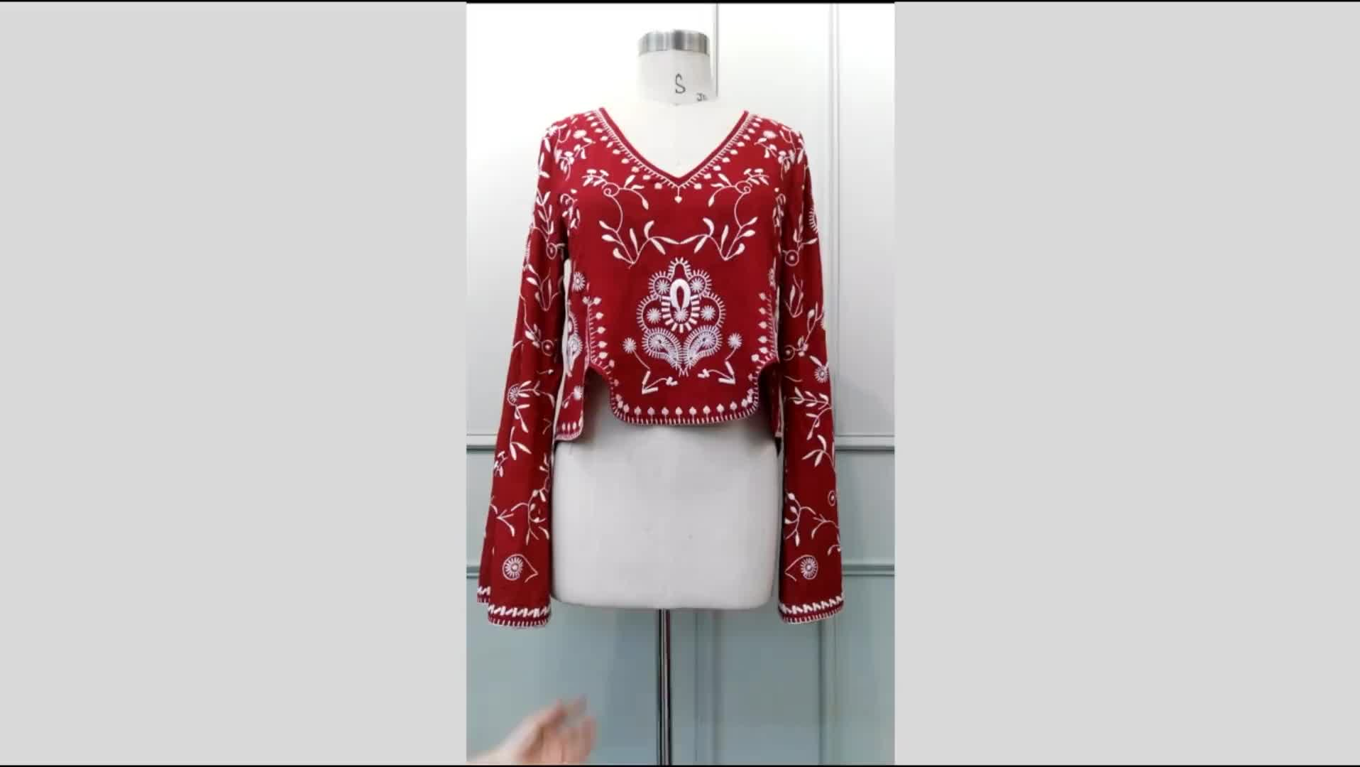 Hot Selling Sexy Deep V-neck Women Embroidery Tops Flare Long Sleeve Cool Blouse Sta-00332