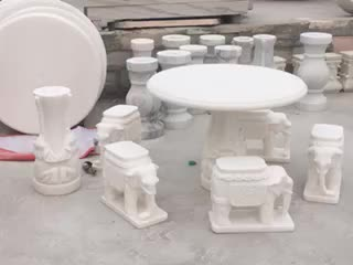 Natural Stone Custom Marble Round Table Chairs Sculpture Courtyard Home Decor