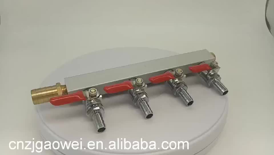 3 Way CO2 Gas Distribution Air Manifold with check valve