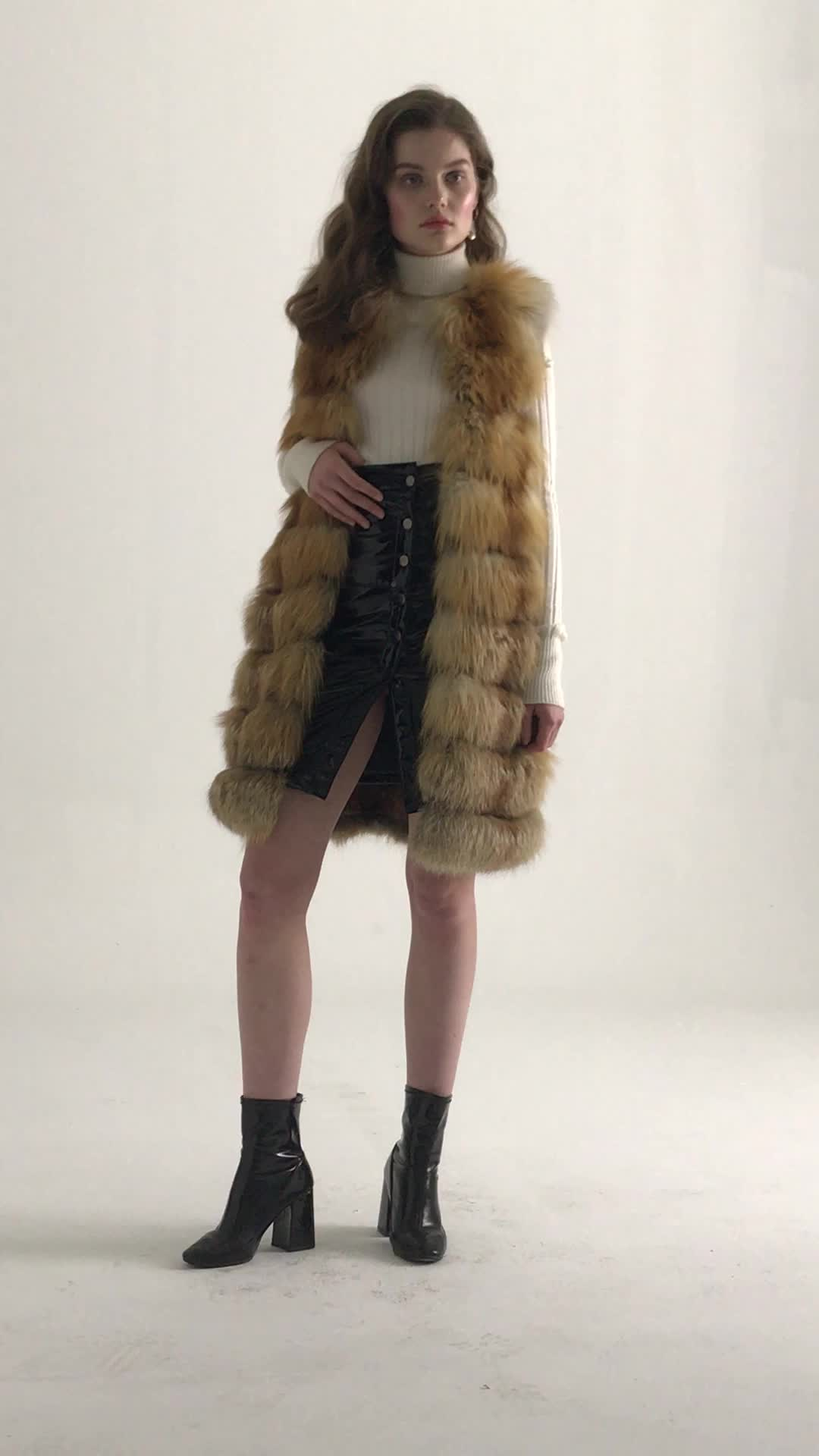 Factory Wholesale Natural Colors Long Real Fox Fur Vest Women Real Fur Vest