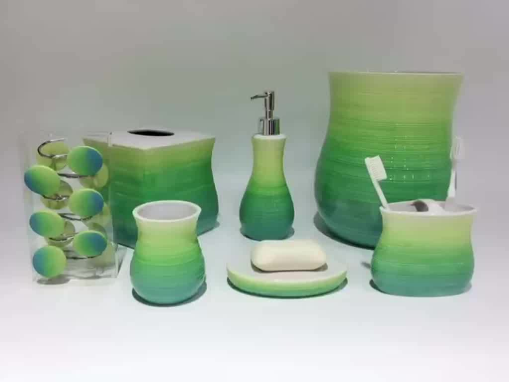 Cheap Bulk Wholesale Green Gradient Handpainted Complete Ceramic Bathroom Accessories Set with Soap or Lotion in Pakistan