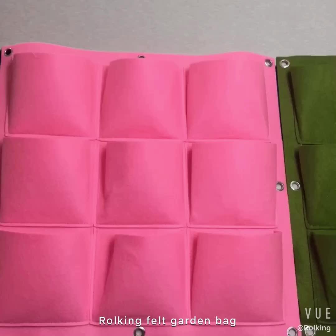 Treo Màu Xanh Lá Cây Bức Tường Thẳng Đứng Cảm Thấy Vải trồng túi Vườn Chậu túi
