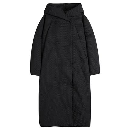 花树果「画面」黑色加厚长款羽绒服